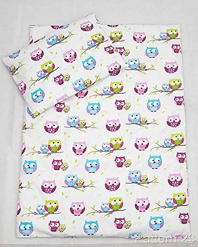 4 pièces 135 x 100 cm Ensemble de couette et oreiller avec couvercles pour lit bébé - Motif 23