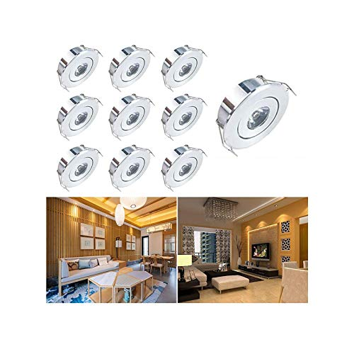 Mini LED Einbaustrahler Set,INHDBOX 10X 1W Warmweiß LED Deckeneinbaustrahler Schwenkbar COB Deckenspots Aluminium LED [Energieklasse A+++]