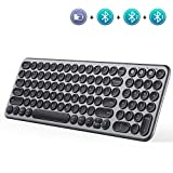 Multi-Device Bluetooth Keyboard, Jelly Comb Wireless Slim Rechargeable Keyboard with Round Keycaps for Laptop PC Tablet Smartphone Windows/MAC OS/Android/iOS System - Black and Gray
