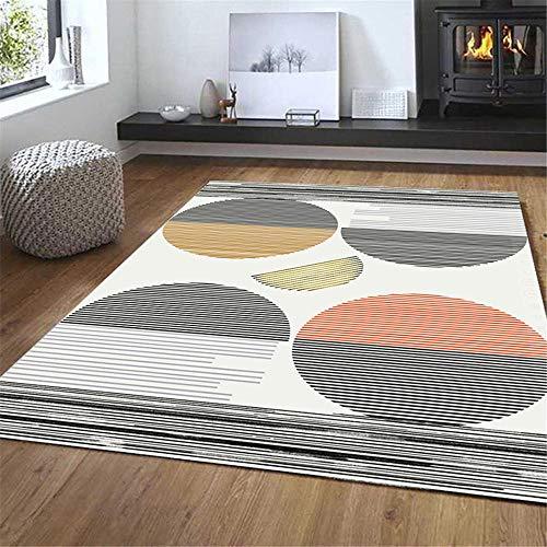 RUGYUW Alfombra Dormitorio Diseño de círculo Rayado marrón Rojo Blanco Negro,salón dormitorios Room comedores pasillos Cocina alfombras (5'3''X6'7''ft)