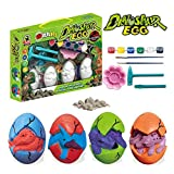 Xinge Easter Dino Eggs Dig Kit - 4 Pack DIY Dinosaur Toys Painting Kit for 5-12 Year Old Boys Girls Party Favors Supplies, Decorate Your Own Dinosaur Figurines (DIY dinosour-4pack2)