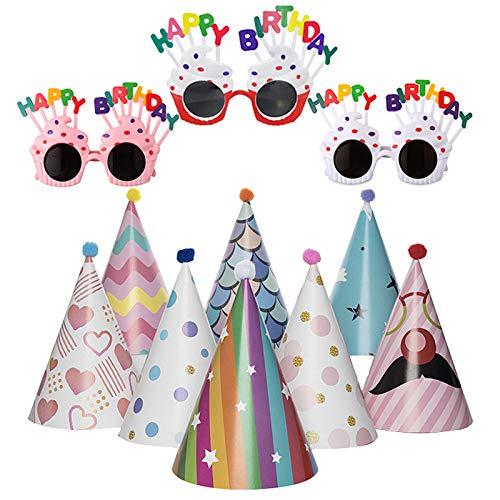 Geoyien Partyhüte Geburtstag Set, Partybrillen Set Geburtstag Papierhüte mit Pompons und Gummiband Spaßbrillen Geburtstag Hute für Partyzubehör, (3 Stück Spaßbrillen und 8 Stück Kegel Hüte)