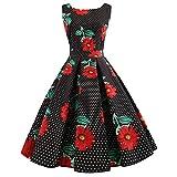 KILLREAL Women's Elegant Sleeveless Polka Dots Audrey Hepburn 1950s Vintage Floral Pleated Cocktail Rockabilly Swing Dress Black Medium
