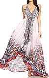 Sakkas 1817 - Marina Womens Maxi Alto-bajo Halter pañuelo Largo Vestido Fiesta en la Playa - FOW210-Blanco - OS