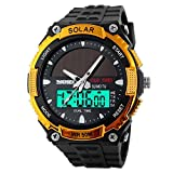 Gosasa Solar Power Sport Watches Men 50M Waterproof Outdoor Multifunctional Military Watch(Gold)