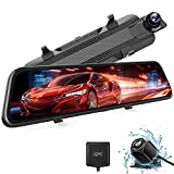 WOLFBOX 2.5K Mirror Dash Cam for Car, 10' Full Touch Screen Rear View Mirror Camera with Waterproof Backup Camera, Dual Dash Cam Front and Rear for Car, Rearview Mirror Cameras with Ultra Night Vision