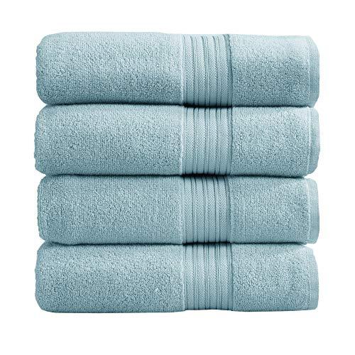 4-Pack Bath Towel Set. 100% Cotton Bathroom Towels. Absorbent Quick-Dry Plush Bath Towels. Cooper Collection. (Bath Towels, Spa Blue)