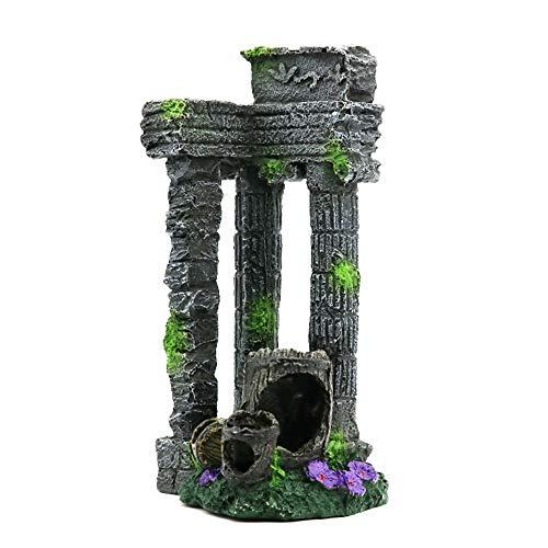 Decoración del acuario Columna romana resina acuario decoraciones del acuario roca ruinas Plantas de la decoración del acuario decoraciones del acuario adornos de decoración para acuario pecera