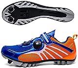 KUXUAN Zapatillas De Ciclismo MTB SPD para Hombres Y Mujeres - Ideales para Bicicletas De Montaña Bicicletas De Ciclocross XC Incluidas,Blue-38EU