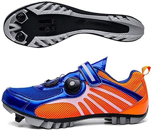 KUXUAN Zapatillas De Ciclismo MTB SPD para Hombres Y Mujeres - Ideales para Bicicletas De Montaña Bicicletas De Ciclocross XC Incluidas,Blue-40EU