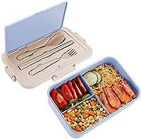 ランチボックス、3コンパートメントBento Bent of Cutlery、1500ml、麦わら麦ランチボックスBPAフリー、漏れ防止ランチコンテナ、マイクロ波、食器洗い機(ブルーピンク) (Color : Blue)