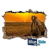 Wandtattoo Kamel im Sonnenuntergang mit 3D-Loch in der Wüste, 85cm x 56cm