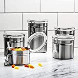 Beautiful 5-Piece Stainless Steel Airtight Canister Set, Caddy & Food Storage Container for Kitchen Counter, Tea, Sugar, Coffee, Candy, Flour Canister with Clear Acrylic Lids & Locking Clamp
