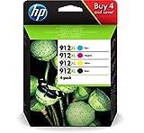 HP 912XL 3YP34AE - Cartucho de Tinta Original (4 Unidades), Color Negro, Cian, Magenta y Amarillo