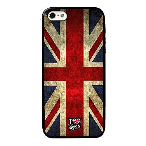 SLIDE Cover TPU Gel Trasparente Morbida Custodia Protettiva, World Collection, Bandiera Inghilterra, iPhone 5 5S
