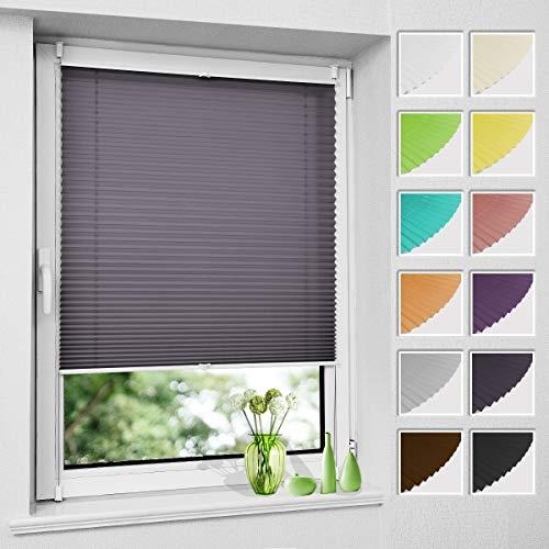 Premium Plissee ohne Bohren Plisee klemmfix (Schiefergrau, 60 x 120 cm) Plisseerollo Jalousien Rollos für Fenster, easyfix & verspannt, Sichtschutz & Sonnenschutz