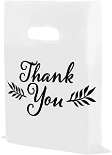 """Houseables Thank You Merchandise Bags, Retail Shopping Goodie Bag, Plastic, 16"""" x 18"""", 100 Pk, 1.75 Mil Thick, Low Density, Glossy, Black and White Color, with Handles, for Stores, Boutiques, Clothes"""