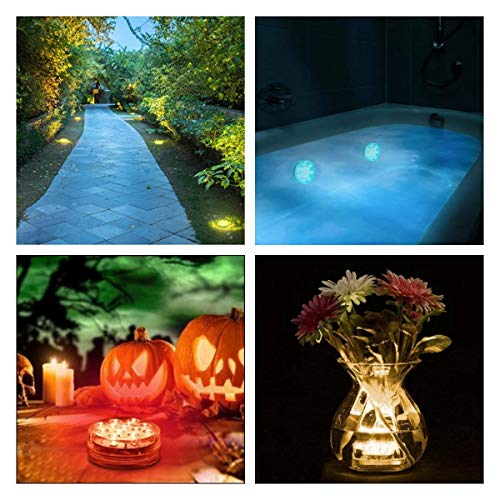 Chakev Submersible LED Pool Lights, 16 Colors Underwater Pond Lights with Remote, Waterproof Bathtub Shower Lights Hot Tub Light with Magnets Suction Cup for Pool Fountain Fish Tank Vase Garden 2 Pack