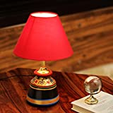 ExclusiveLane 'Glowing Reds' Terracotta Decor Floral Handpainted Vessel Shaped Home Decorative Bedroom Living Room Bedside Table Lamps for Home Decoration (Red, Without Bulb) (EL-003-158)