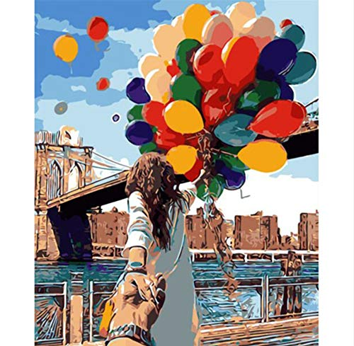 Vanzelu Paar Digitale Diy Olie Schilderen Door Getallen Landschap Muurdecoratie Foto Op Canvas Olie Verf Kleurplaten Door Nummer Tekenen Ballon 40x50cm Geen Frame