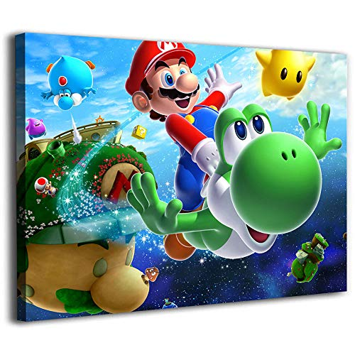 Wall Stickers Canvas Oil Painting Wall Art Super Mario Galaxy Poster Mario Yoshi Posters Canvas Painting Wall Art 12x8inch