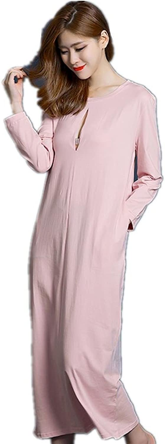 DMMSS Ladies Spring And Autumn Sleep Dress LongSleeved Solid color Long Skirt Cute European And American Pajamas Long Section Of Home Service