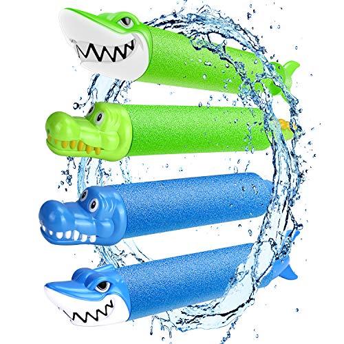 Magicfun Pistola de Agua, 4 PCS Pistolas Juguetes Agua de Espuma de Animales Bonitos, Chorro de Agua Ligera para Niños & Adultos, Juegos Piscina Playa