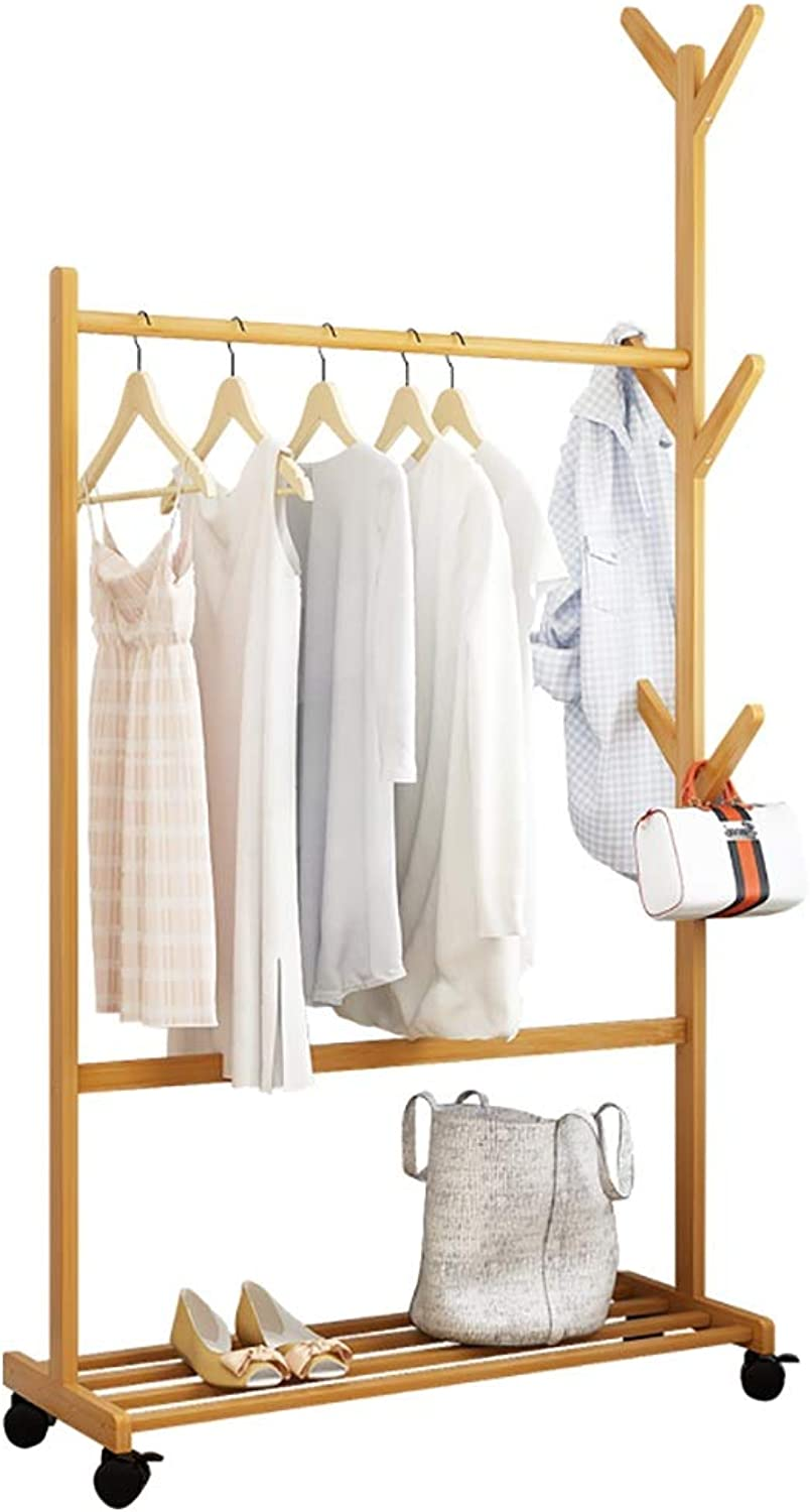 Floor-Standing Coat Rack Wooden Single Pole Clothes Pole it can Move Simple Suitable for Home Bedroom Living Room and Other Scenes 80  35  163CM