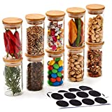 EZOWare Set of 10 Small Airtight Clear Spice Glass Jars, Storage Canister Jar with Bamboo Lids and Chalkboard Labels for Kitchen - 200ml