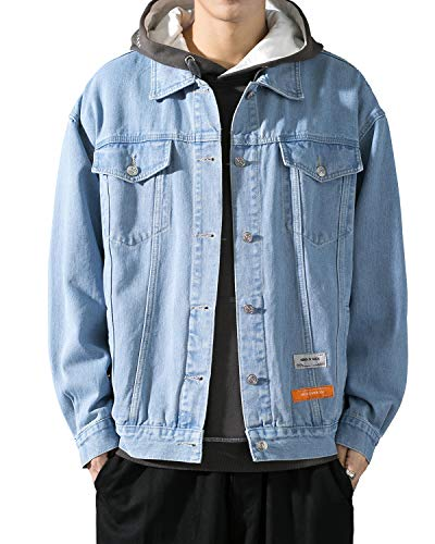 PRIJOUHE Men's Classic Denim Trucker Jacket Casual Washed Loose Long Sleeve Button Down Jean Jacket Coat Outwear
