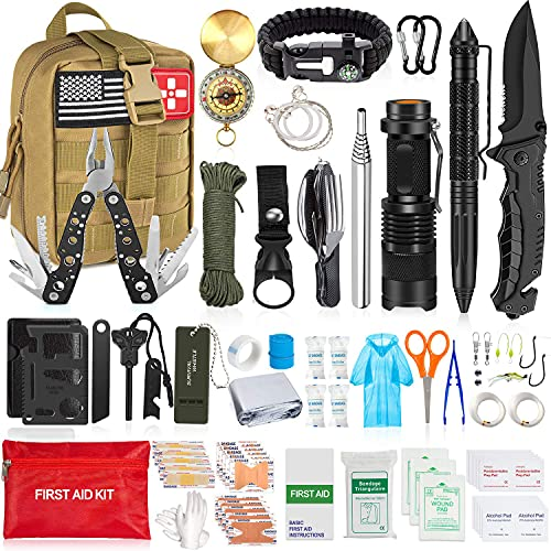 Aokiwo 200Pcs Emergency Survival Kit, Professional Survival Gear Tool First Aid Kit SOS Emergency with Molle Pouch for Camping Adventures (Brown)