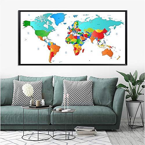 KWzEQ Cartel nórdico Acuarela Mapa del Mundo Lienzo Imagen para Sala de Estar decoración del hogar Arte Abstracto de la Pared,Pintura sin Marco,30X60cm