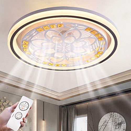 LED Deckenleuchte Fan Deckenlampe,Schlafzimmer Moderne Kreative Fan Licht Blumen Deckenventilator Lampe Kinderzimmer Deckenbeleuchtung Mit Fernbedienung Dimmbar Leiser Lüfter Kronleuchter (Runden)