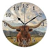 CPYang Orologio da parete con motivo a mucca, silenzioso, rotondo, per casa, soggiorno, camera da letto, cucina, ufficio, scuola