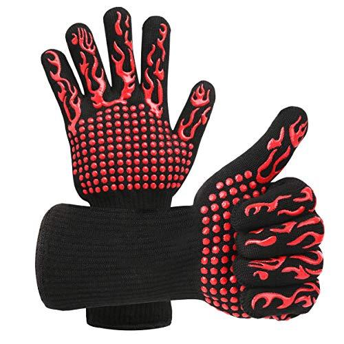 Braoses Grillhandschuhe Ofenhandschuhe Hitzebeständige bis zu 800 °C, Universalgröße Kochhandschuhe Backhandschuhe Mit Topf Untersetzer, rutschfeste Grill Handschuhe für BBQ Kochen Backofen(Rot)