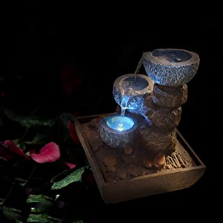 Dapo Zimmerbrunnen Tischbrunnen mit LED Beleuchtung Springbr
