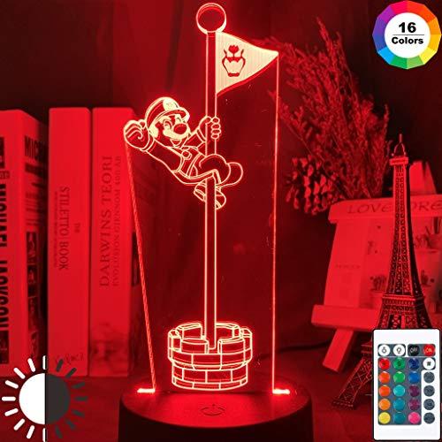 Juego Super Mario Bros Flag Mario Flagpole Night Light 3D LED Lámpara de mesa niños regalo de cumpleaños decoración de la habitación