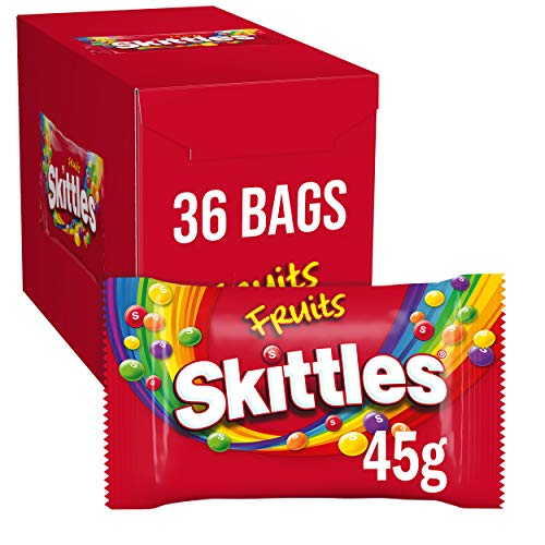 Skittles Sweets, Fruit Chewy Sweets, 36 Packs of 45 g