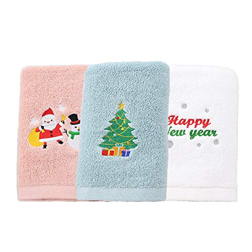 Piscepio Christmas Decorative Cotton Kitchen Towel Hand Towels Dish Towel Set Absorbent Gift-Christmas (White Dog 2 Pack)
