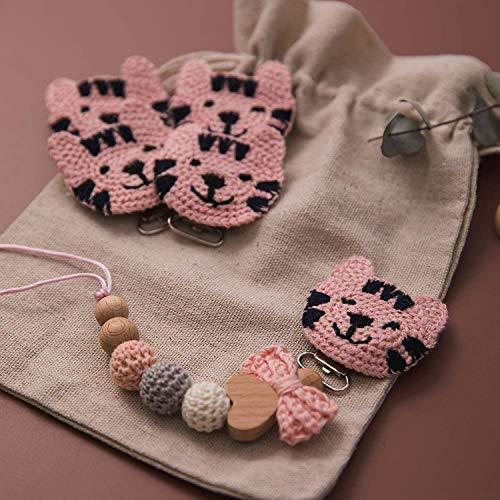 5pc Soft Crochet Cat Pacifier Clip Personalized Montessori Teething Toy Safe Metal Smooth Clip Organic Baby DIY Jewelry Accessories Perfect Shower Gift for Infants