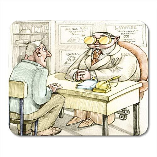 Mauspads Geld Patient Erstaunt am Schreibtisch des berühmten Doktors hat zwei Goldmünzen statt Brillen Cartoon Comic Mauspad für Notebooks, Desktop-Computer Matten Büromaterial