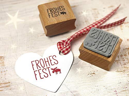 Stempel Weihnachtsstempel Frohes Fest mit Elch für DIY Geschenkerpackung, Tags, Scrapbooking, Weihnachtsgeschenke.