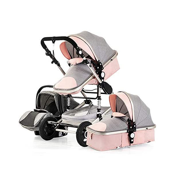 JINGQI Multi-Purpose Baby Stroller High Landscape Multi-Function Sitting And Lying Two-Way Four-Wheel Shock Absorber Folding Newborn Child Trolley Baby,Pink JINGQI ✔ The push handle can be adjusted in multiple levels, high-quality linen fabric, stylish atmosphere, water absorption and dirt resistance, and UV protection; thick and thick aluminum alloy frame, waterproof and rustproof ✔ Triple shock absorber: front wheel built-in spring shock absorber, wear-resistant EVA rear wheel, independent frame shock absorber, good shock absorption effect, good grip, strong shock absorber at the root of the frame, durable And good flexibility ✔Exquisite design: The sleeping basket with shock-proof hook effectively prevents the sleeping basket from shaking; the universal front wheels are flexible and light; the detachable armrest has large storage space and is more convenient for storage; one-stop brake 1
