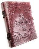 Kooly Zen - Cuaderno de notas, diario, libro, piel auténtica, vintage, cruz celta, cierre de metal vintage, 13 x 17 cm, 240 páginas, papel Premium