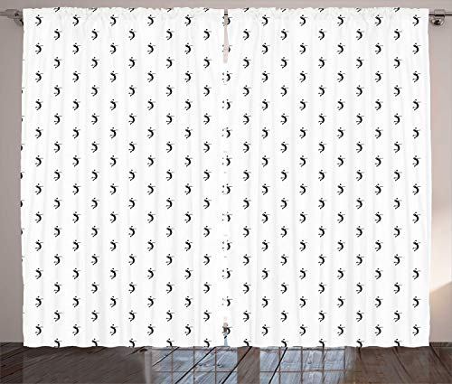 ABAKUHAUS Vóleibol Cortinas, con el Objetivo de Atleta Hit, Sala de Estar Dormitorio Cortinas Ventana Set de Dos Paños, 280 x 260 cm, Gris carbón Negro