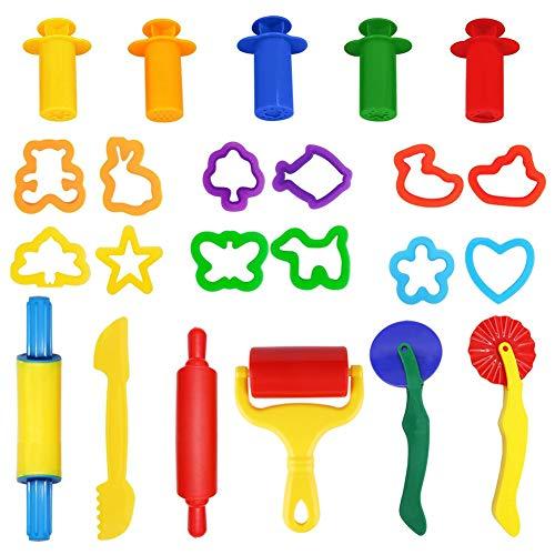 Mitening Herramientas de Plastilina 23 Piezas Extrusora de Accesorios de Plastilina Cortadores de Galletas Juguete de Arcilla para Niños Bebé Infantil, Colores Aleatorios
