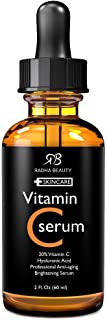 Radha Beauty Vitamin C Serum for Face, 2 fl. oz - 20% Organic Vitamin C + E + Hyaluronic Acid for Anti-Aging, Wrinkles, and Fine Lines - For Radiant and Healthy Skin