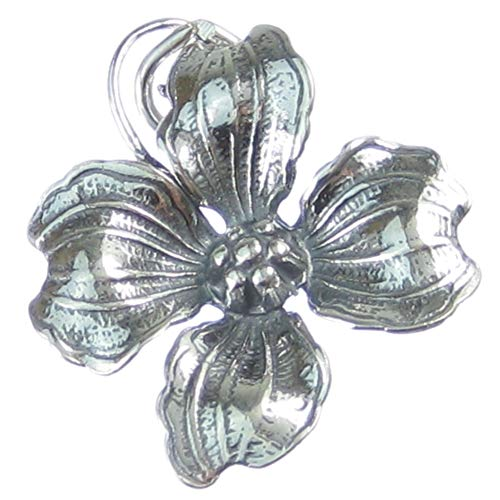 Dogwood flower sterling silver charm .925 x 1 Plant Plants Flowers charms -SFP
