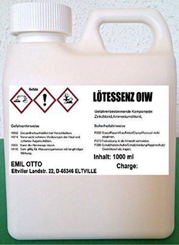 Lötessenz OIW (1:5 mit Wasser verdünnbar), Inhalt 1.000 ml / 1,35 kg, Universal Flussmittel zum Weichlöten u. Feuerverzinnen von Schwermetallen (Ausnahme rostfreier Edelstähle)
