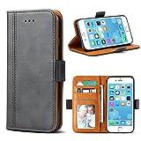 Bozon iPhone 6 Plus Hülle, iPhone 6S Plus Leder Tasche Handyhülle für iPhone 6 Plus/iPhone 6S Plus Schutzhülle Flip Wallet mit Ständer & Kartenfächer/Magnetverschluss (Dunkel-Grau)